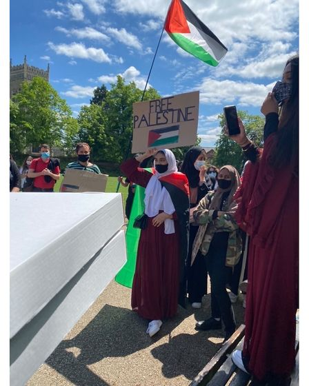 The Free Palestine protest took place in Christchurch Park on Saturday