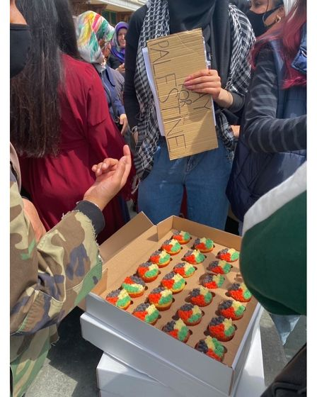 Afsana Begum, owner of Nothing Better Than Desserts, made Palestine cupcakes to sell at the protest for charity