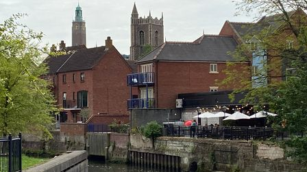 The Weir bar overlooking the river in Norwich.