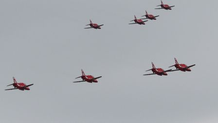 The RAF's acrobatic display teamflew over the countyas part of their first public display since June 2019.