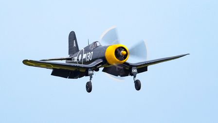 A Corsair FG-1D in flight at the IWM Duxford flying day to commemorate D-Day.