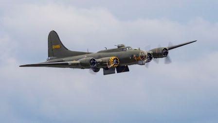B-17 Sally B displays with her bomb doors open at IWM Duxford.