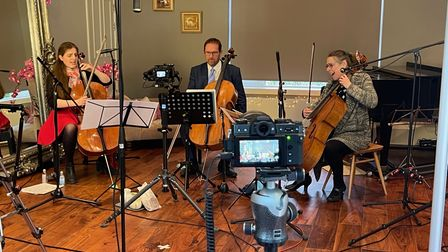 Filming one of the care home concerts in Jennie Muskett's Highgate studio