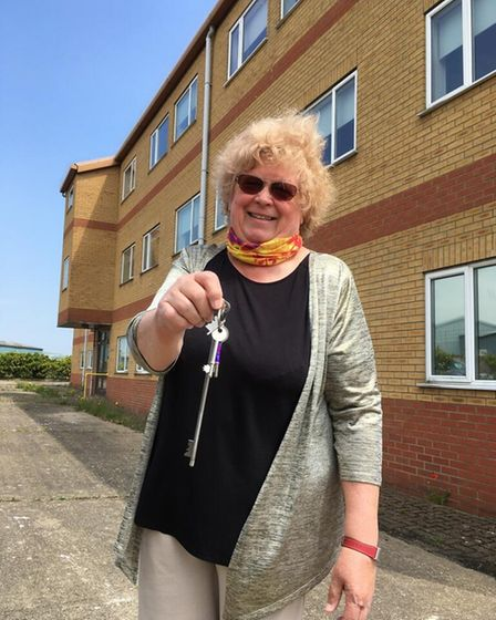 Diana Staines of Centre 81 in Great Yarmouth with the keys to the Fugro building.