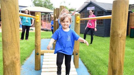 Mila. Claydon pre-school now have a new play area Picture: CHARLOTTE BOND