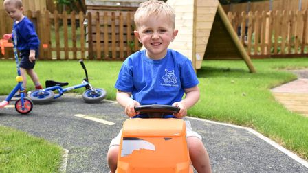 Cian. Claydon pre-school now have a new play area Picture: CHARLOTTE BOND