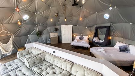 Relax in the comfort of one of the park's new geodesic domes
