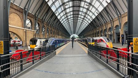 Trains on the new platforms at London King's Cross station.