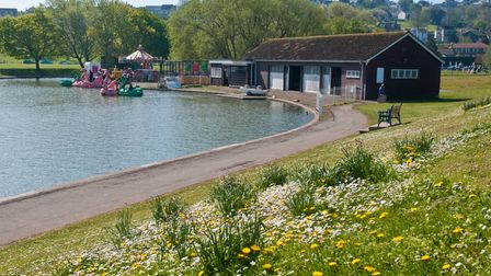 Portishead Lake Grounds and Lakeside Café looking lovely in the Bank Holiday sunshine in 2019.