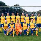 Awliscombe FC squad prior to a match against Farway in October 2020