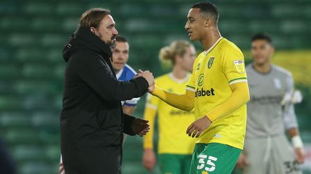 Norwich Head Coach Daniel Farke and Adam Idah of Norwich at the end of the Sky Bet Championship matc