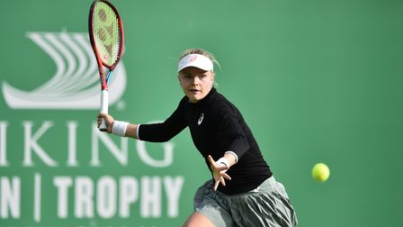 Harriet Dart plays a forehand shot against Emma Raducanu at the VIking Open in Nottingham
