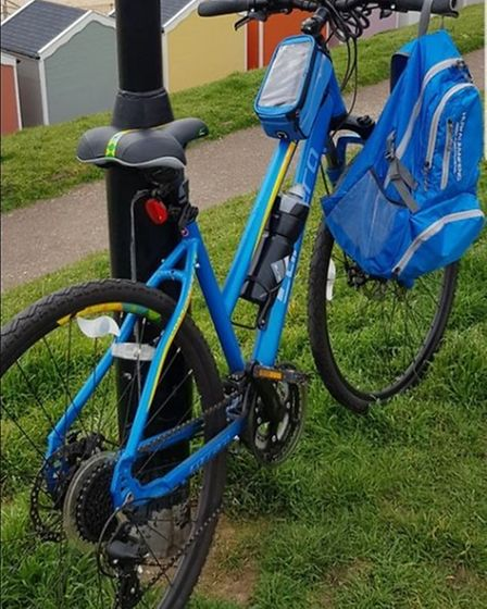The blue Carrera bicycle stolen in Great Yarmouth.