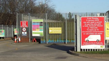 Entrance to Stevenage Recycling Centre