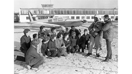 Westbourne sixth form students preparing for a parachute jump at Ipswich Airport in January 1985