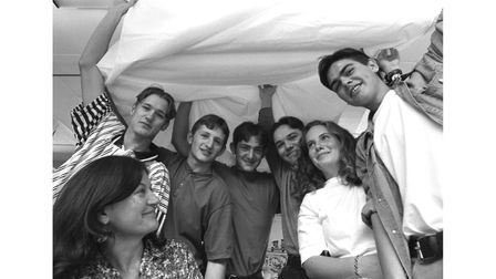 Students from King Edward VI Schoolin Bury St Edmunds taking part in a sponsored parachute jump in June 1995