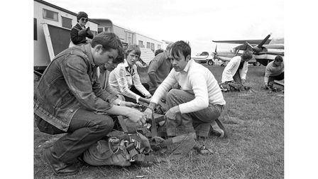 Hadleigh Youth Club members at Clacton receiving parachute instructions in June 1980
