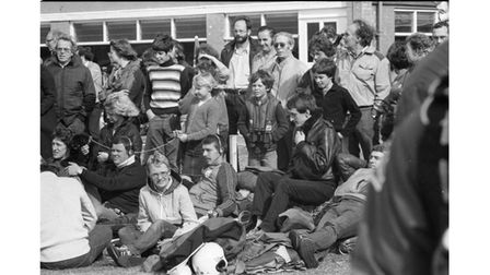 Crowds watching the parachute jumps at Ipswich Airport in October 1981