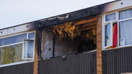 The scene of a flat fire at Mandells Court in Norwich between Princes Street and Waggon and Horses L