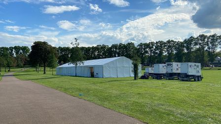 Tents have set up shop on Butts Close to aid the filming at Hitchin Outdoor Pool