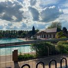 Retro-looking deck chairs were spotted over the fence of Hitchin's outdoor pool yesterday (Monday, June 7)