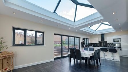 A flat roof extension installed by FineLine in Kent, allowing extra space for the family and natural light into the home.