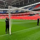 The brand new goals being used atthe 2021 FA Cup Final at Wembley.