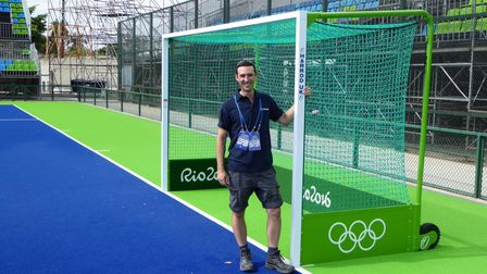 Kevin Utton Installing hockey goals for Rio Olympics - made in Lowestoft by Harrod UK