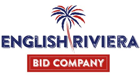 The English Riviera BID Company logo with red and blue palm tree on a white background