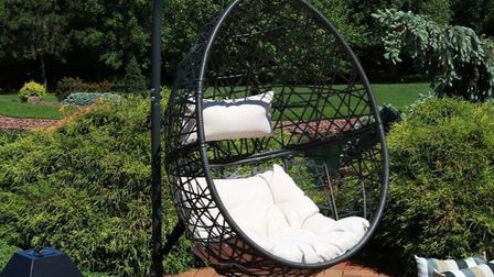 A hanging Egg chair.