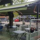 Seating area outside Misya Turkish restaurant in Stevenage Old Town