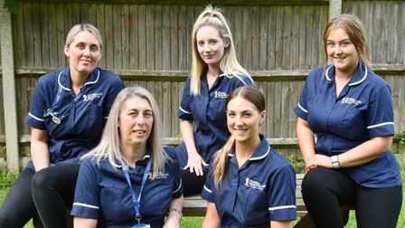 Five members of the same family all work for Cavell Healthcare in Norwich. L-r Charlene Morter, Mich