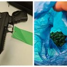 A large amount of cannabis, suspected crack cocaine, cash, an air weapon and a hunting knife were recovered by Beds police