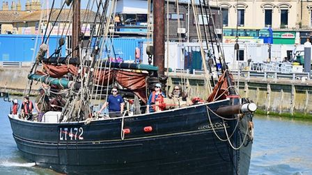 Excelsior leaves Lowestoft to take part in The Mayflower ceremony in London.