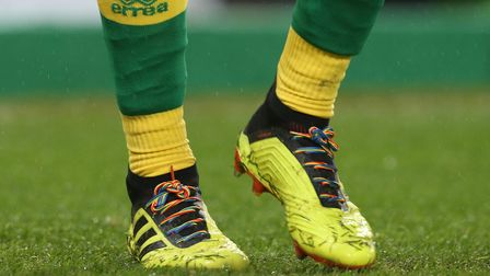 Christoph Zimmermann of Norwich wears Rainbow Laces during the Sky Bet Championship match at Carrow