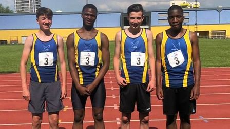 Havering's 4x300m relay squad face the camera at Mile End