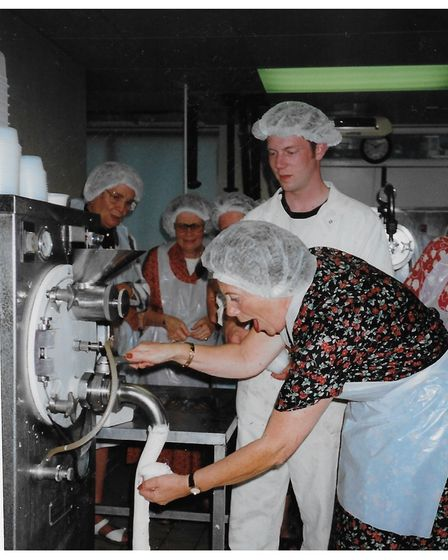 Jill Nunn on a visit to Peter's ice cream factory in Ipswich in 1998 with Shotley and Erwarton WI