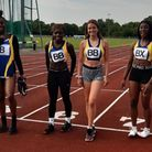 Havering's under-20 women's relay squad face the camera