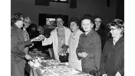 The mayor opens the WI market in St George's Church Hall, Felixstowe, in April 1975