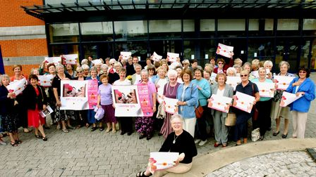 Ipswich WI President Linda Leigh and members at the UGC Cinema in Ipswich for their screening of Calendar Girls in 2003