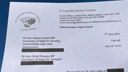 A letter headed Uttlesford District Council