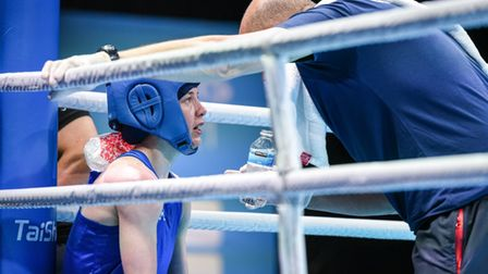 Lowestoft boxer Charley Davison in the flyweight final of the Road to Tokyo European Olympic qualifying event in Paris.