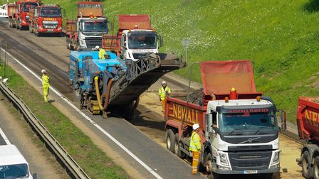 A view of the roadworks on the A47 from Stoke Road.
