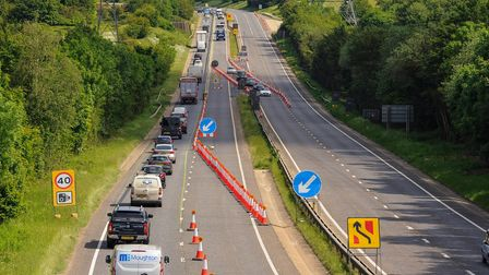 A view of the roadworks on the A47 from Intwood Road.