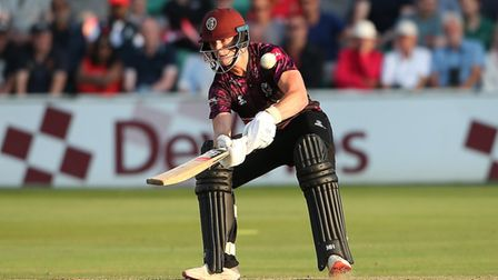 Tom Abell of Somerset plays the ramp shot for sixruns against Essex Eagles in the Vitality Blast T20 in 2019