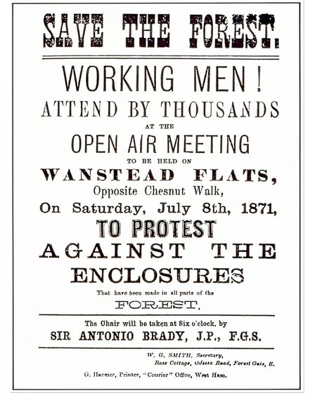 1871 poster about the Wanstead Flats protest