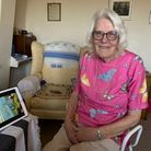 Kitty, 94 - one of the Feeling Good programme's participants on a video call with her Dutch family