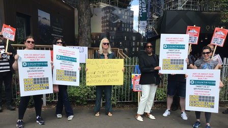 Protesters gathered outside developer Countryside's sales office in Hackney on June 5.