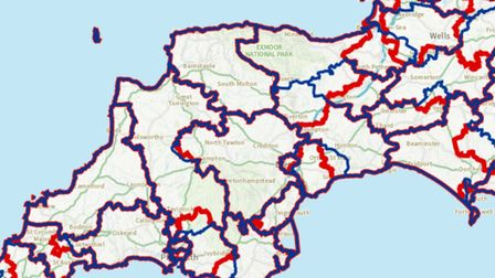 In blue, existing constituencies, and in red, proposed changes to electoral boundaries across Devon