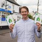 App creator and former Pilton Community College student Owen with Hub Hop QR cards